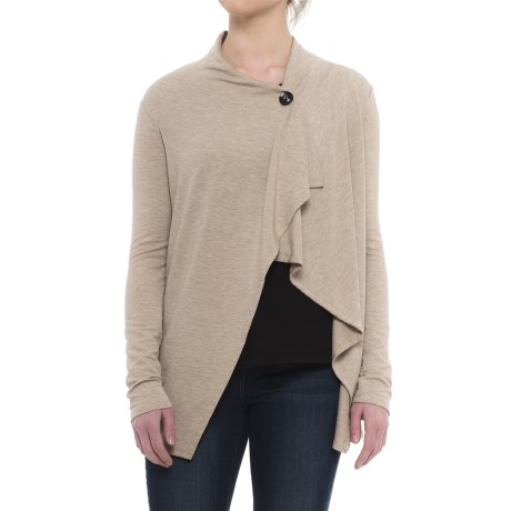 CG Cable & Gauge Baby Terry Single-Button Cardigan Sweater (For Women) in Oatmeal Heather