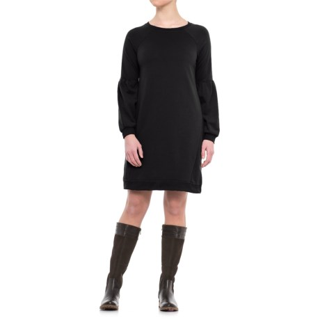 CG Cable & Gauge Bell Sleeve Sweatshirt Dress - Long Sleeve (For Women) in Black