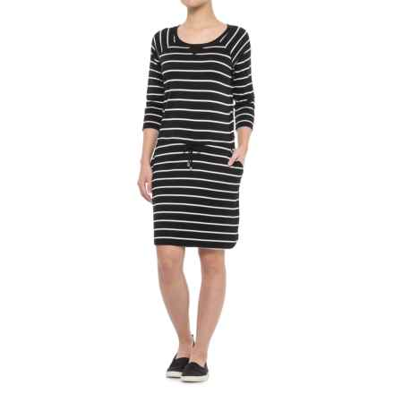 CG Cable & Gauge Boat Neck Dress - 3/4 Sleeve (For Women) in Black/Ivory Stripe - Closeouts