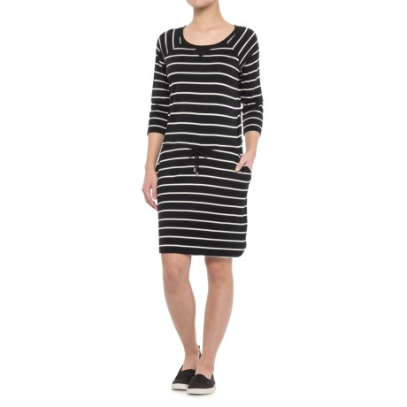 CG Cable and Gauge Boat Neck Dress - 3/4 Sleeve (For Women)