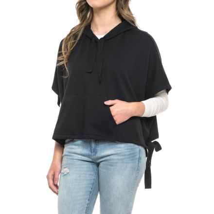 CG Cable & Gauge French Terry Hooded Poncho (For Women) in Black - Overstock