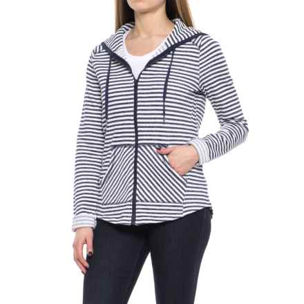 CG Cable & Gauge French Terry Stripe Hoodie (For Women) in Navy/Light Heather Grey - Overstock