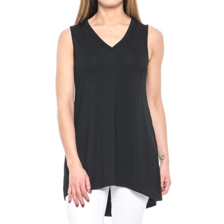 CG Cable & Gauge Jersey Tunic Tank Top - V-Neck (For Women) in Black