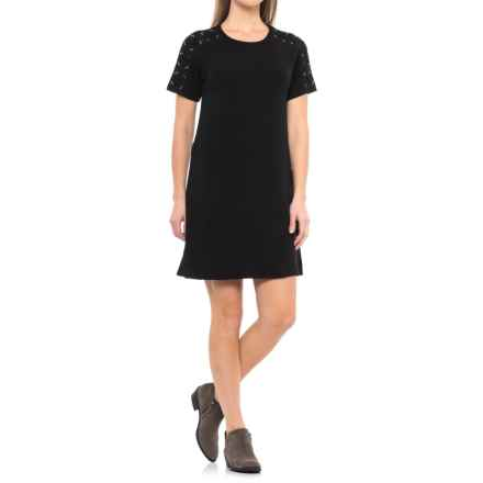 CG Cable & Gauge Lace-Shoulder Dress - Short Sleeve (For Women) in Black - Closeouts