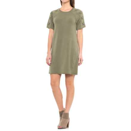 CG Cable & Gauge Lace-Shoulder Dress - Short Sleeve (For Women) in Pale Olive - Closeouts