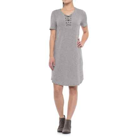 CG Cable & Gauge Lace-Up Dress - Short Sleeve (For Women) in Heather Grey - Closeouts