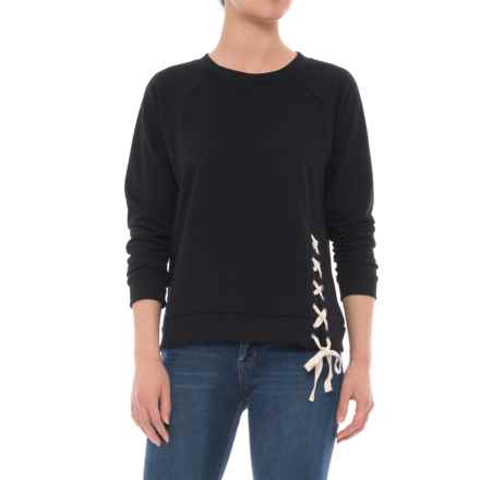 CG Cable & Gauge Laced Terry Shirt - Long Sleeve (For Women) in Black - Overstock