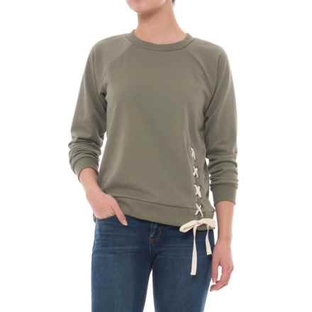 CG Cable & Gauge Laced Terry Shirt - Long Sleeve (For Women) in Pale Olive - Overstock