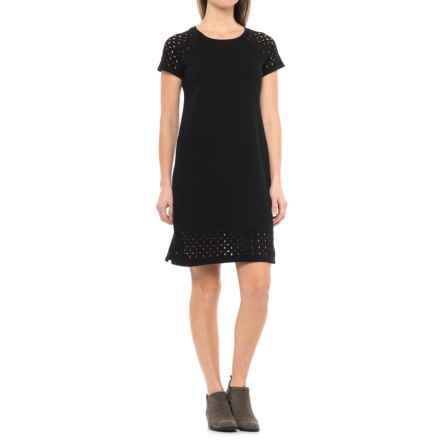 CG Cable & Gauge Laser-Cut Dress - Short Sleeve (For Women) in Black - Closeouts