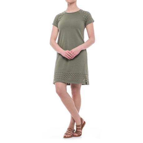 CG Cable and Gauge Laser-Cut Dress - Short Sleeve (For Women)
