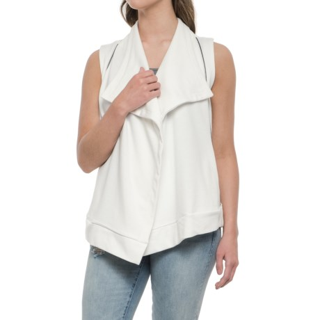 CG Cable & Gauge Looped Cascading Lapel Cardigan Sweater - Sleeveless (For Women) in Ivory