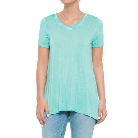 CG Cable & Gauge Pigment-Dyed Jersey High-Low Shirt - Short Sleeve (For Women) in Fresh Aqua - Overstock