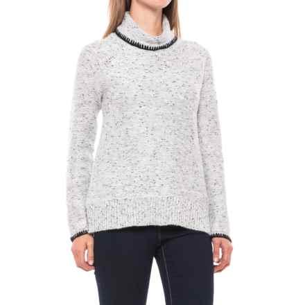 2dbfdbeacf747f CG Cable   Gauge Raglan Turtleneck Sweater (For Women) in White Black  Speckles