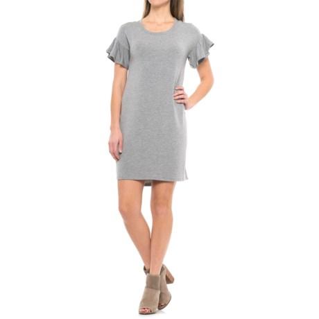 CG Cable & Gauge Ruffle-Sleeve Dress - Short Sleeve (For Women) in Heather Grey