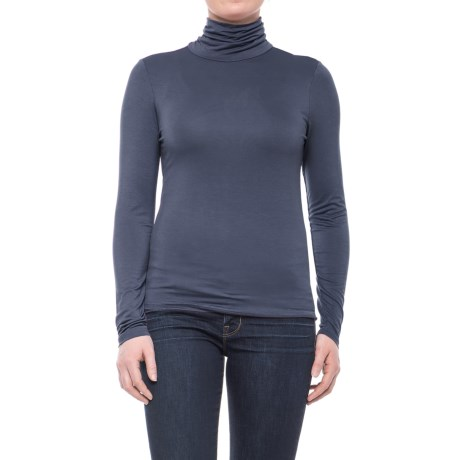 CG Cable & Gauge Scrunched Turtleneck - Long Sleeve (For Women) in Navy