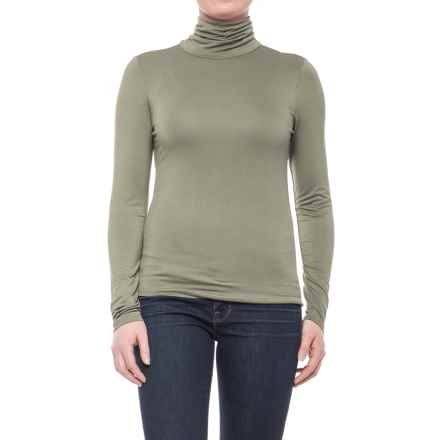 CG Cable & Gauge Scrunched Turtleneck - Long Sleeve (For Women) in Olive - Closeouts