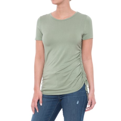CG Cable & Gauge Side Drawstring Shirt - Crew Neck, Short Sleeve (For Women) in Sage