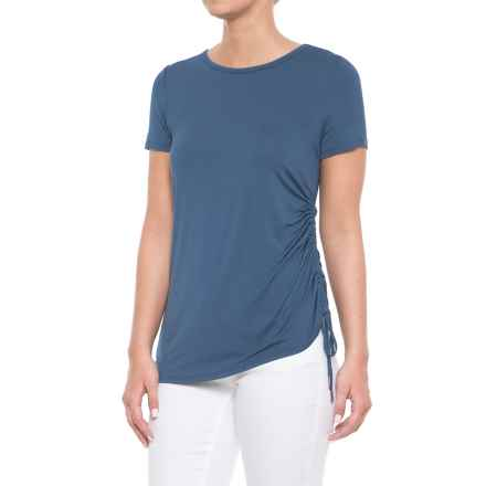 CG Cable & Gauge Side Drawstring Shirt - Crew Neck, Short Sleeve (For Women) in Seal Blue - Overstock