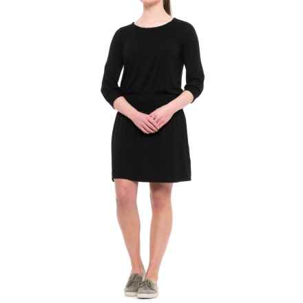 CG Cable & Gauge Smocked Dress - 3/4 Sleeve (For Women) in Black - Closeouts