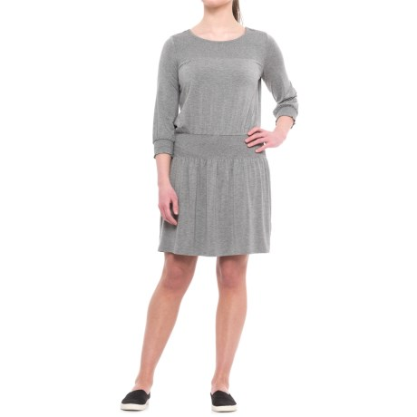 CG Cable & Gauge Smocked Dress - 3/4 Sleeve (For Women) in Heather Grey