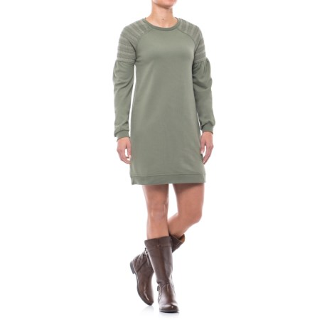 CG Cable & Gauge Smocked Shoulder Sweatshirt Dress - Long Sleeve (For Women) in Pale Olive