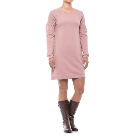 CG Cable and Gauge Smocked Shoulder Sweatshirt Dress - Long Sleeve (For Women)