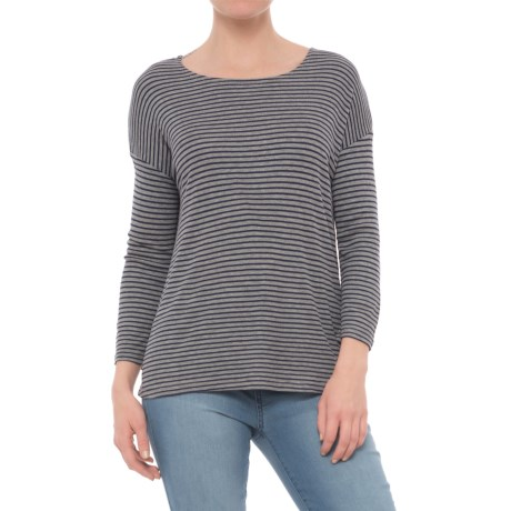 CG Cable & Gauge Striped Drop-Shoulder Shirt - 3/4 Sleeve (For Women) in Heather Grey/Navy