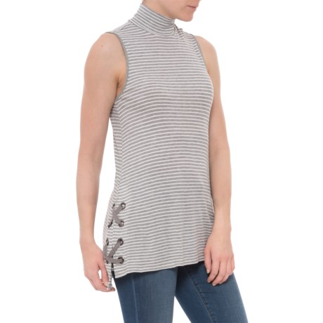CG Cable & Gauge Striped Mock Neck Shirt - Sleeveless (For Women) in Feather Gray