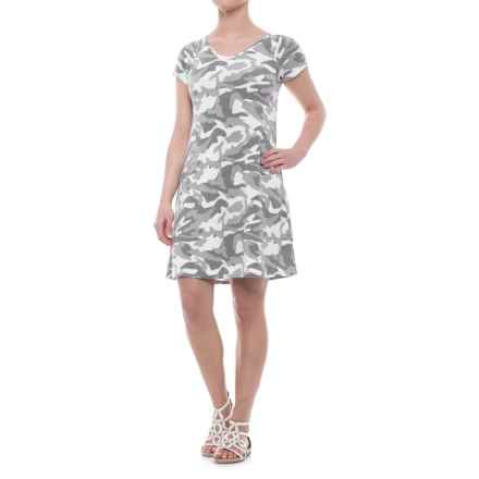 CG Cable & Gauge Swing Dress - V-Neck, Short Sleeve (For Women) in White/Grey Camo - Closeouts