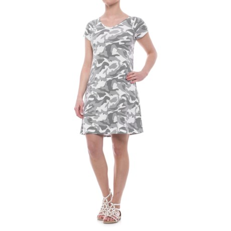 CG Cable & Gauge Swing Dress - V-Neck, Short Sleeve (For Women) in White/Grey Camo