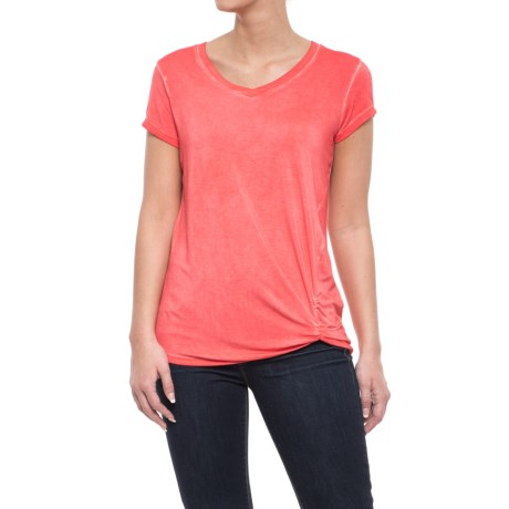 CG Cable & Gauge Twist Knot Shirt - Short Sleeve (For Women) in Coral Lily