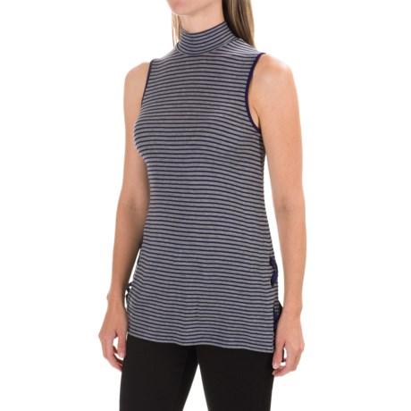 CG Sport Cable & Gauge Viscose Mock Turtleneck - Sleeveless (For Women) in Heather Grey/Navy