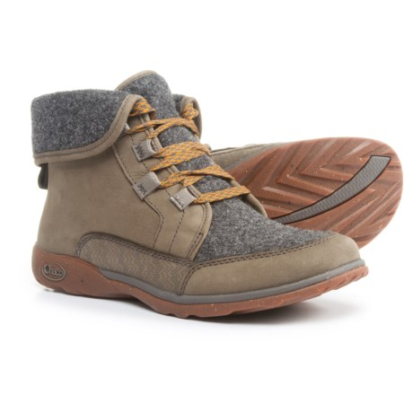 Chaco Barbary Lace Boots - Leather-Wool (For Women) in Nickel Gray