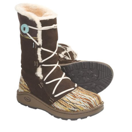 Chaco Belyn Baa Boots - Leather (For Women) in Chocolate Brown Print