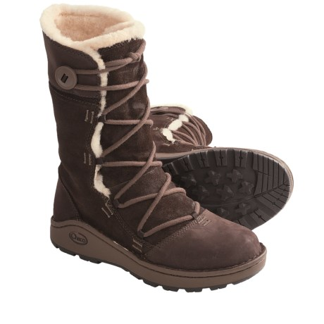 Chaco Belyn Baa Boots - Leather (For Women) in Chocolate Brown