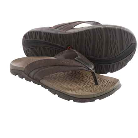 Chaco Cabrera Flip-Flops - Leather (For Men) in Chocolate Torte - Closeouts