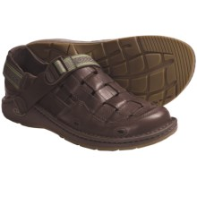 Chaco Conundrum Sandals - Leather (For Men) in Chocolate Brown/Grove - Closeouts