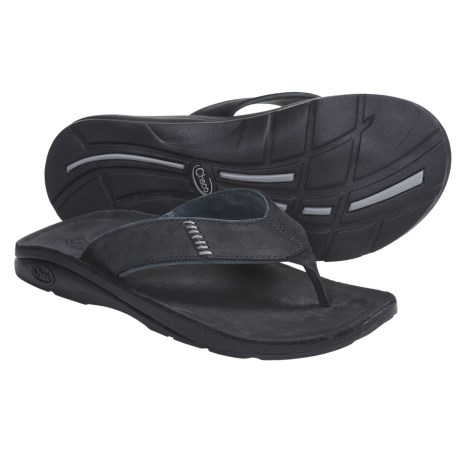 Chaco Cordonazo Ecotread Thong Sandals - Leather (For Men) in Black