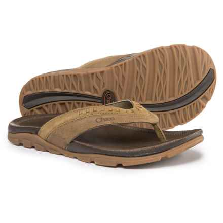 Chaco Finn Flip-Flops - Leather (For Men) in Dark Earth - Closeouts