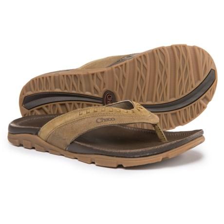 Chaco Finn Flip-Flops - Leather (For Men) in Dark Earth