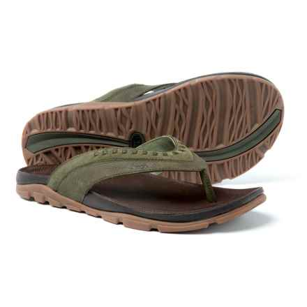 Chaco Finn Flip-Flops - Leather (For Men) in Grape Leaf - Closeouts