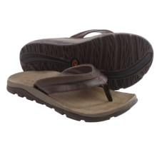 Chaco Kirkwood Flip-Flops - Leather (For Men) in Chocolate Torte - Closeouts