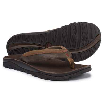 Chaco Kirkwood Flip-Flops - Leather (For Men) in Dark Earth - Closeouts