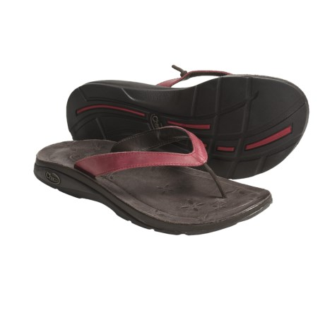 Chaco Locavore Ecotread Sandals - Leather-Recycled Materials Flip-Flops (For Women) in Red