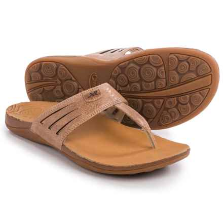 Chaco Sansa Flip-Flops - Leather (For Women) in Adobe - Closeouts