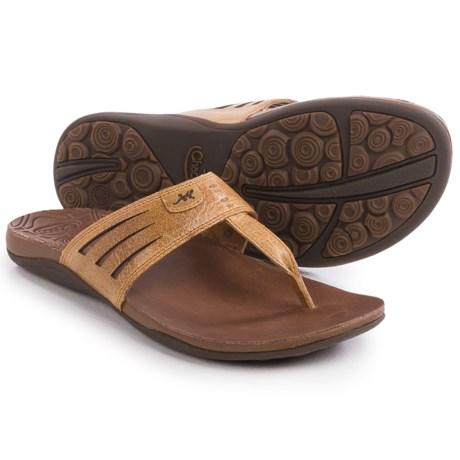 Chaco Sansa Flip-Flops - Leather (For Women) in Dark Earth