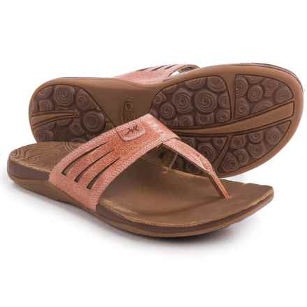 Chaco Sansa Flip-Flops - Leather (For Women) in Peach - Closeouts