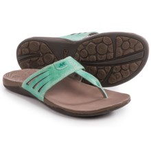 Chaco Sansa Flip-Flops - Leather (For Women) in Turquoise - Closeouts