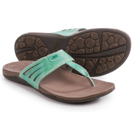 Chaco Sansa Flip-Flops - Leather (For Women) in Turquoise