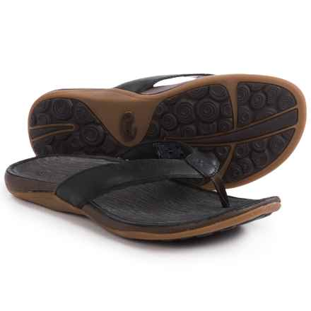 Chaco Sol Flip-Flops - Leather (For Women) in Black - Closeouts